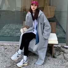 chun qiu zhuang 2021 New Style Female Mid-length Casual Sweatshirt Coat Ins-Music of the Tide Versat