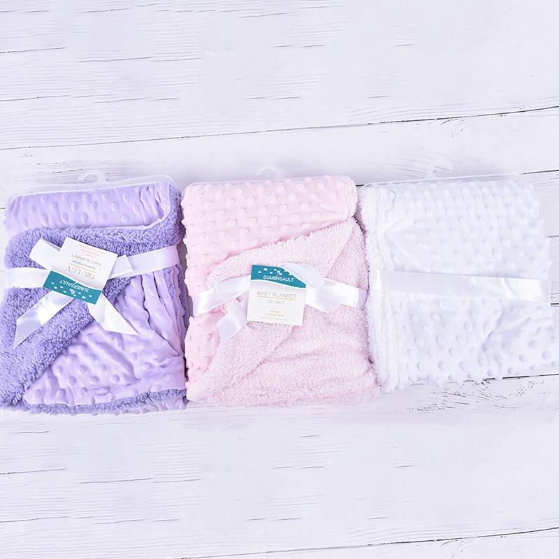 Bebê recém-nascido duplo cobertores quente velo térmico beanie para baixo bebê bolha cobertor infantil cama swaddle envoltório crianças toalha de banho