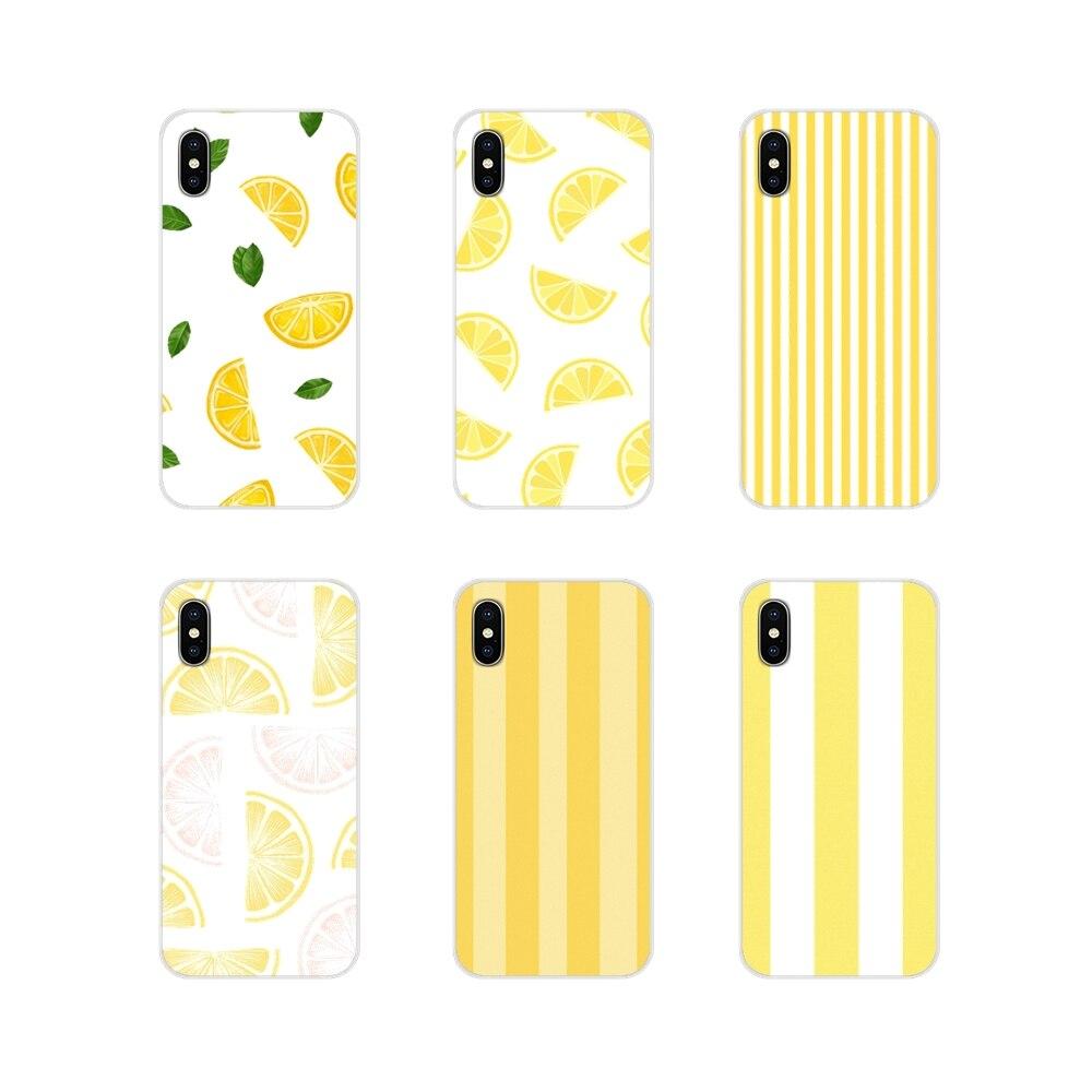 Lemon yellow stripes Transparente Casos Suaves Capas Para LG G3 G4 Mini G5 G6 G7 Q6 Q7 Q8 Q9 V10 V20 V30 X Power 2 3 K10 K4 K8 2017