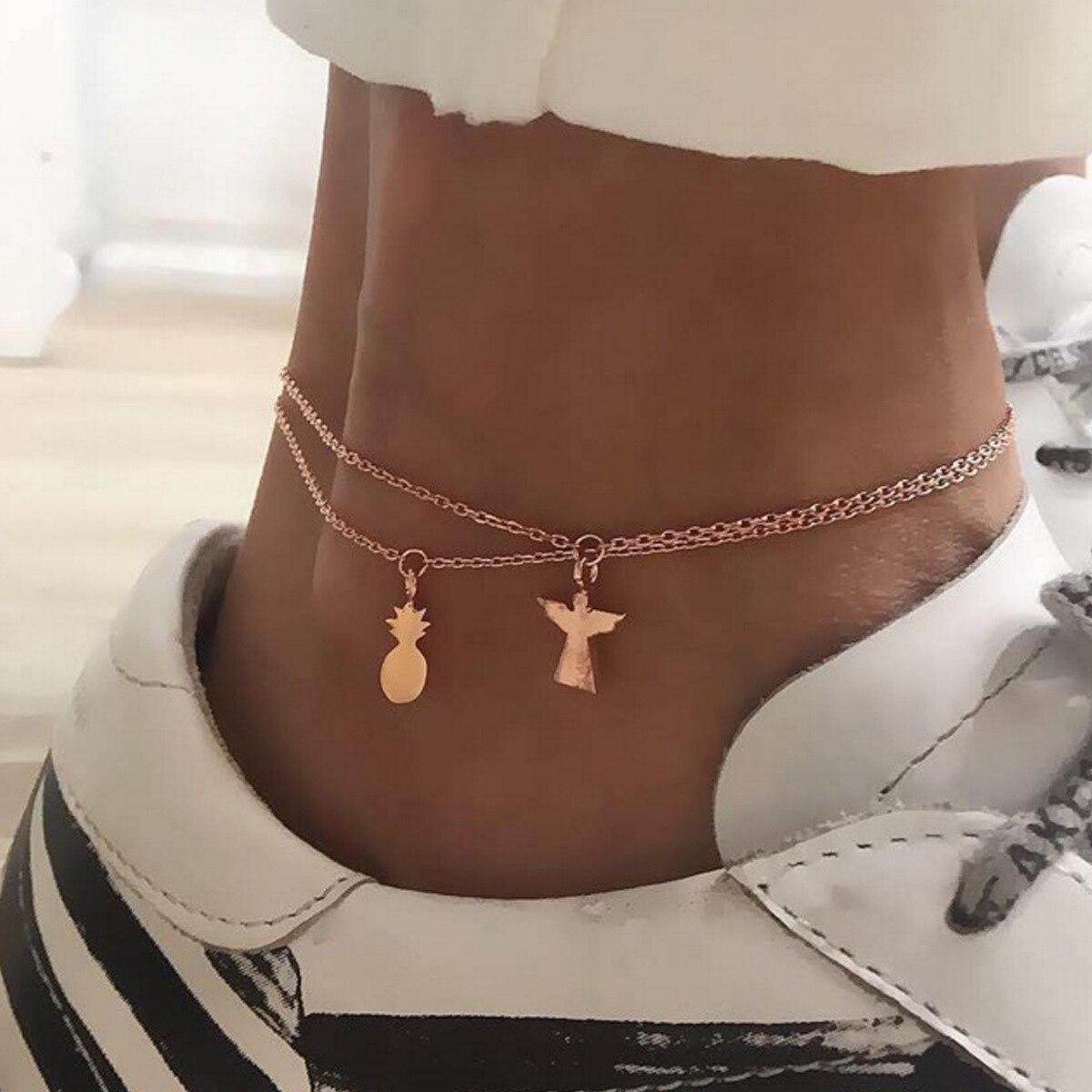 Fashion retro ethnic style ladies alloy pineapple angel pendant anklet set 2 pieces,