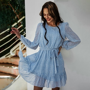 Vintage Floral Print Long Sleeve Spring Casual Dress 2021 O Neck A Line Women Clothing Summer Midi Dress Party Elegant Dresses