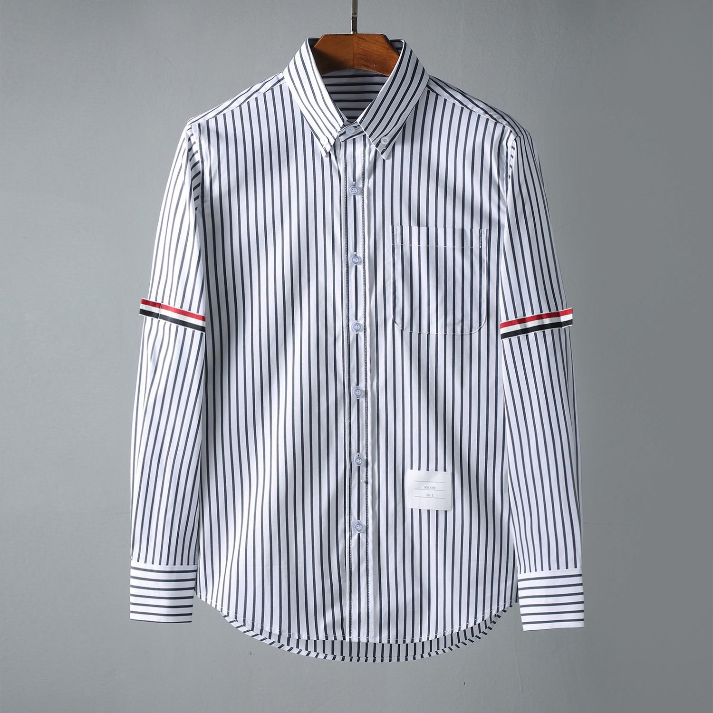 جديد 2021 قميص رجالي أكسفورد كلاسيكي ملون مخطط قمصان قطنية غير رسمية قميص جيب عالي الجودة بأكمام طويلة مقاس M 2XL D109