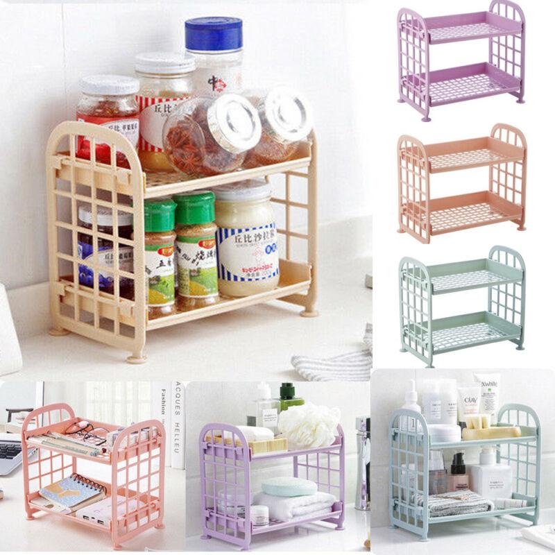 HOT 2 Layers Kitchen Bathroom Plastic Square Storage Organizer Shelf Rack NEW Kitchen Shelf Organise