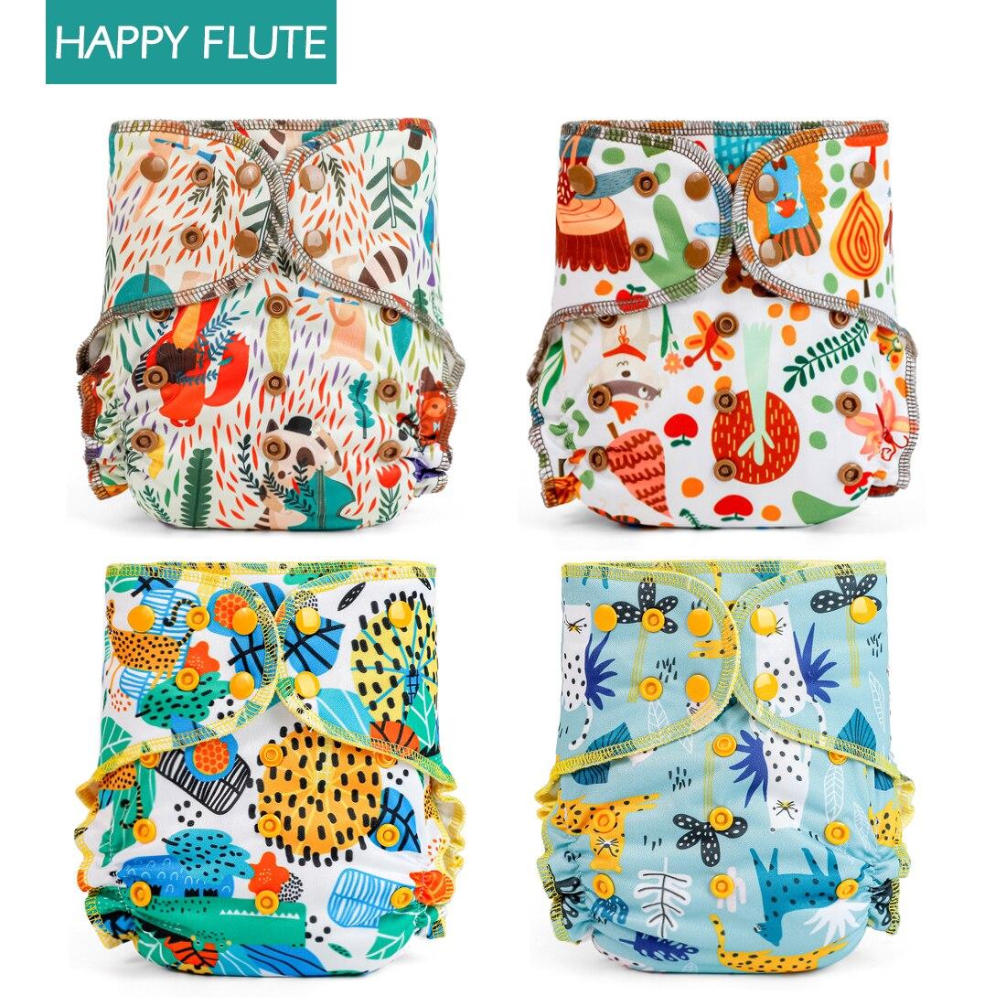 4pcs Happy flute Organic Cotton Cloth Diaper Nappy One Size Pocket Reusable Diapers Eco-friendly fit 3-15kg baby