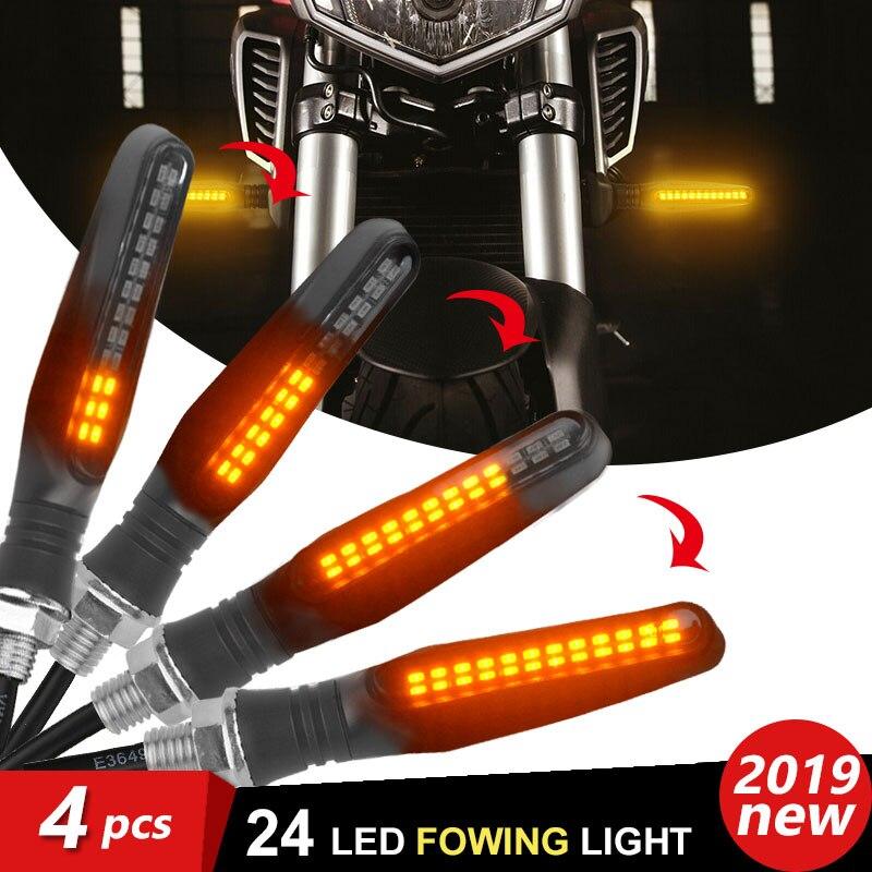 Nuevo 4 Uds 24 LED Moto rcycle Indicador de luz intermitente luces ámbar frecce moto fluye clignotant moto led