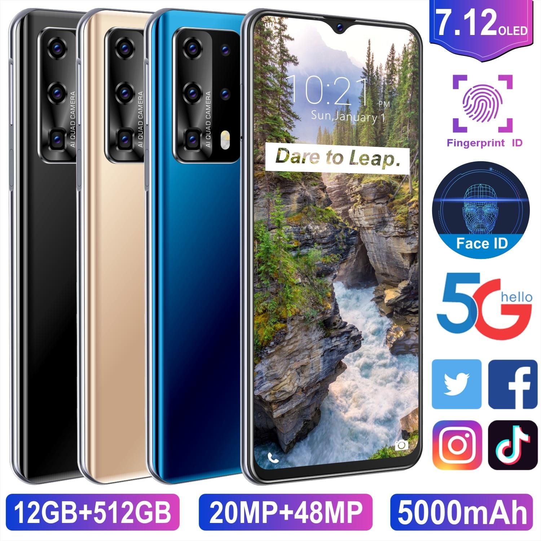 Global Version Notep40pro+  Mobile Phones 7.12Inch 5000mAh Smartphones 12+512GB Water Drop Screen Side Key Fingerprint to Unlock
