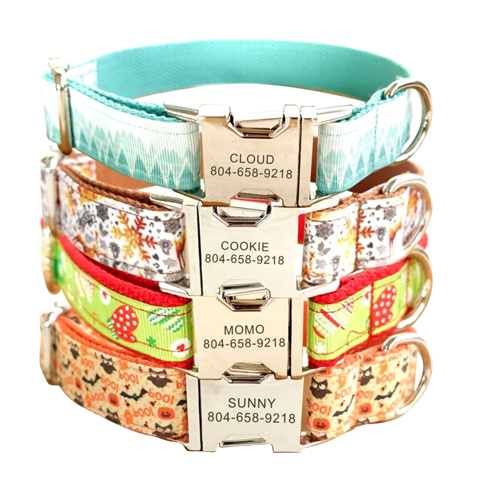 Collar personalizado para mascotas, Collar de nailon para nieve, Halloween, etiqueta de identificación de nombre para cachorros y gatos, collares básicos ajustables, accesorios para mascotas