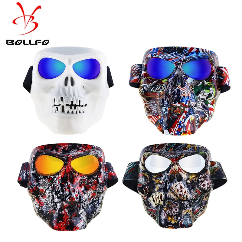 Bollfo Motorcycle Goggles Helmet Mask Outdoor Bike Riding Motocross Skulls Windproof Wind Glass Sandproof Goggles Modular Goggle enlarge