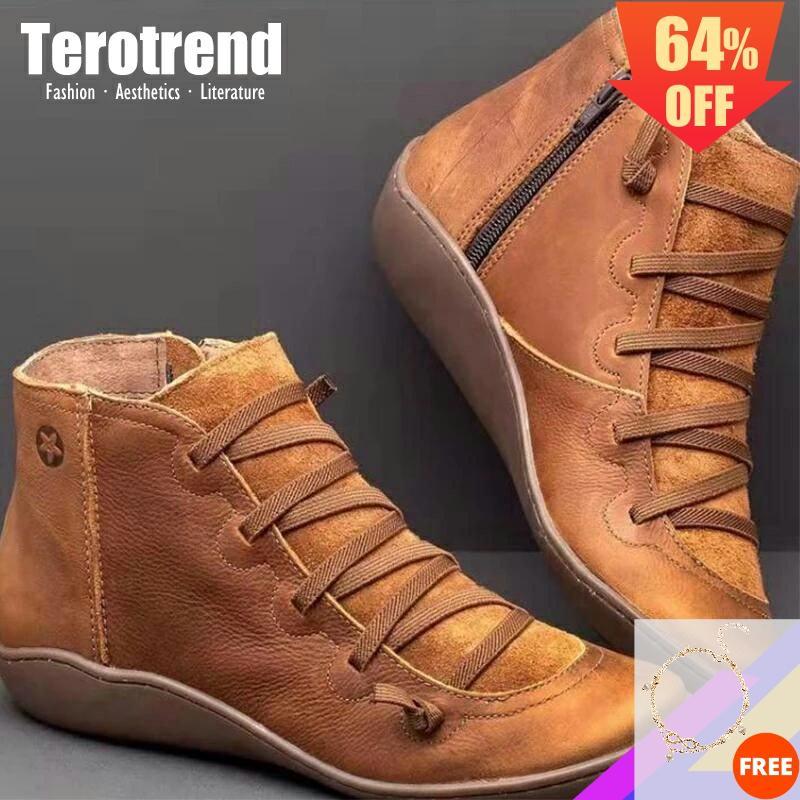 2020, botines para mujer, botines de piel sintética con cordones, botines de mujer con correa cruzada de gran tamaño, zapatos planos para invierno y primavera, zapatos cortos para mujer