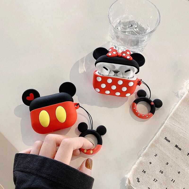Dibujos Animados 3D para Airpods Pro funda Bluetooth auriculares inalámbricos cubierta de Mickey Skin accesorios para Apple Airpods 1 2 fundas a prueba de golpes