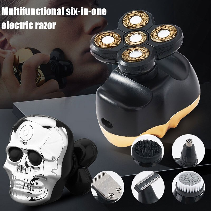 Elétrico para Presente Multifuncional à Prova 6 em 1 Atacado Crânio Barbeador Masculino Navalha Elétrica Dwaterproof Água m3