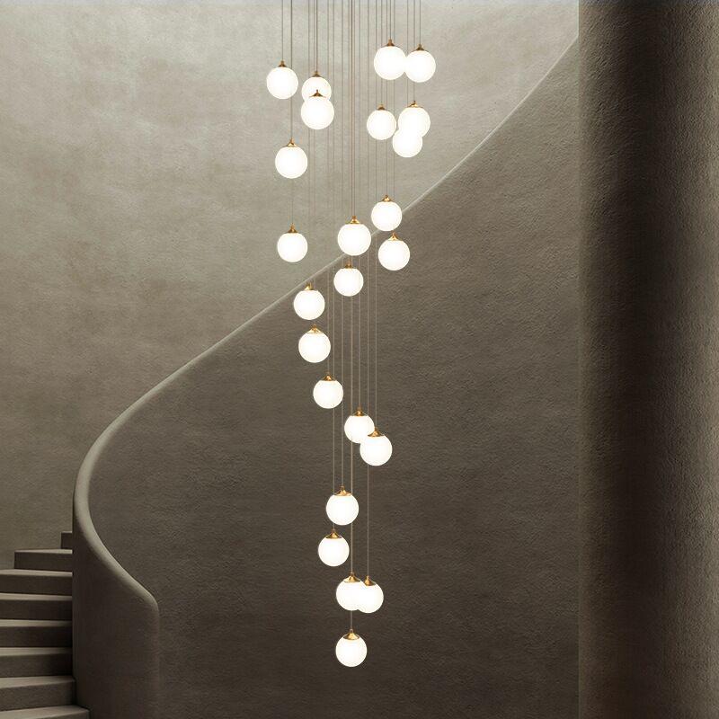 جميع النحاس جماليات الزجاج الكرة الثريا دوبلكس شقة درج Chandeilers الفاخرة فندق فيلا اللوبي سقف معلق ضوء