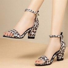 Shoes Women Leopard Print High Heel Platform Sandals Ladies Block Heels Ankle Strap Open Toe Summer Shoes 32 33 42 43 44 45 46