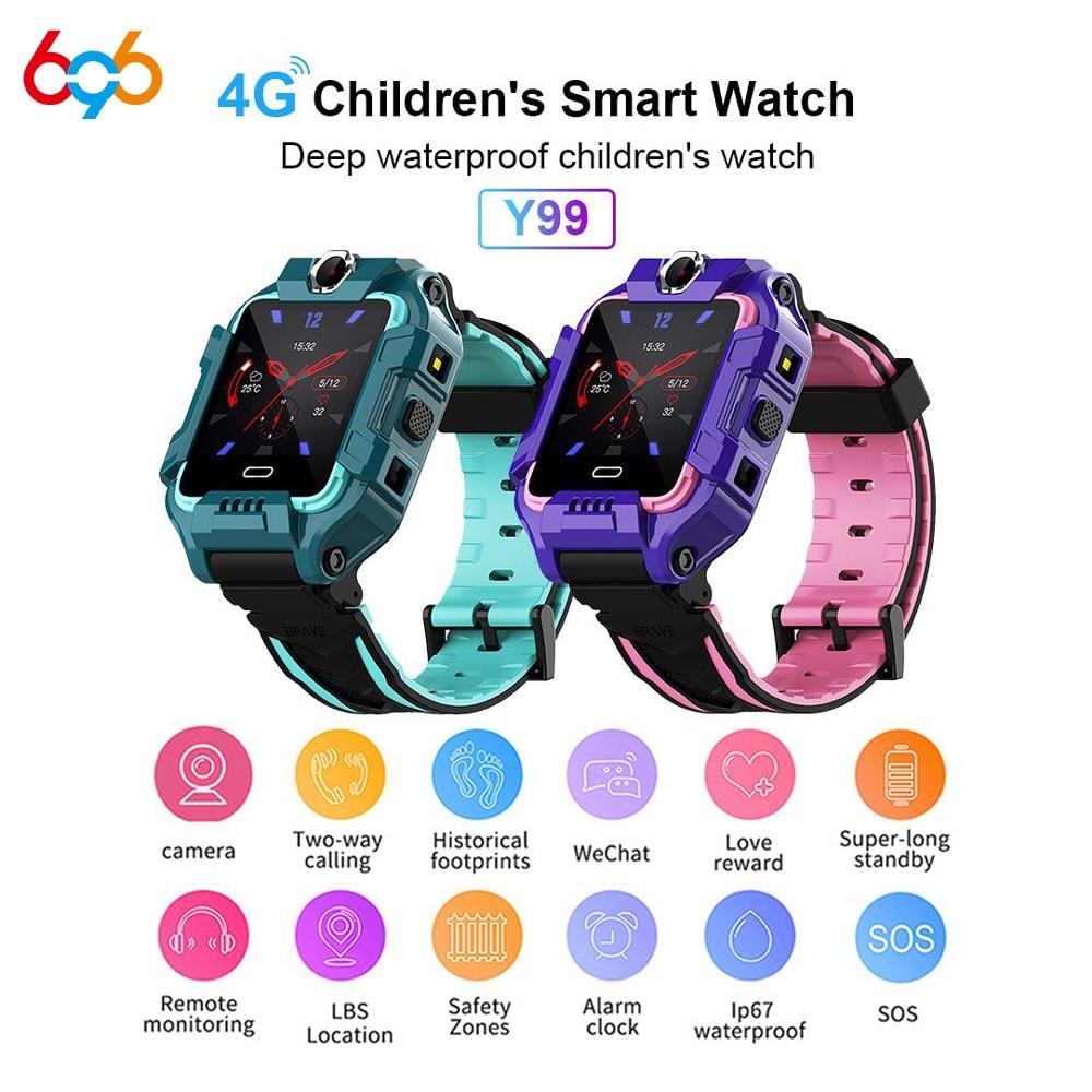 696 Y99 الأطفال ساعة ذكية 4G الاطفال لتحديد المواقع موقف السلامة معصمه كاميرات مزدوجة مكالمة فيديو سوار الرياضة مقاوم للماء ساعة أطفال