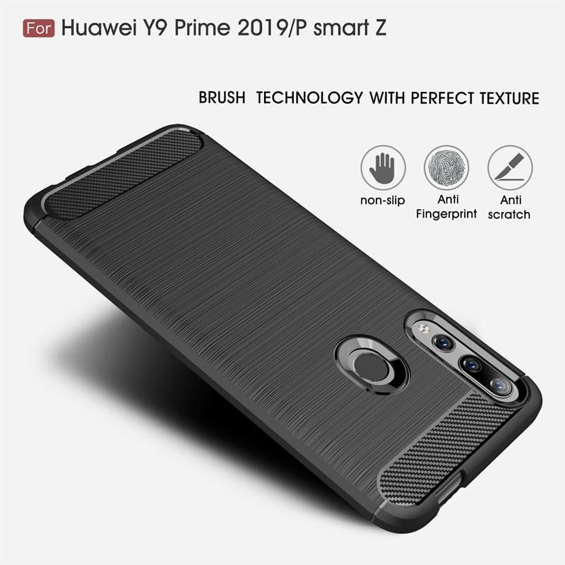 Capa de fibra de carbono, para huawei y5 y6 y7 y9 prime 2019 nova 2 3 3i 4 5 5i 5t capa de silicone macio pro lite p smart z, à prova de choque