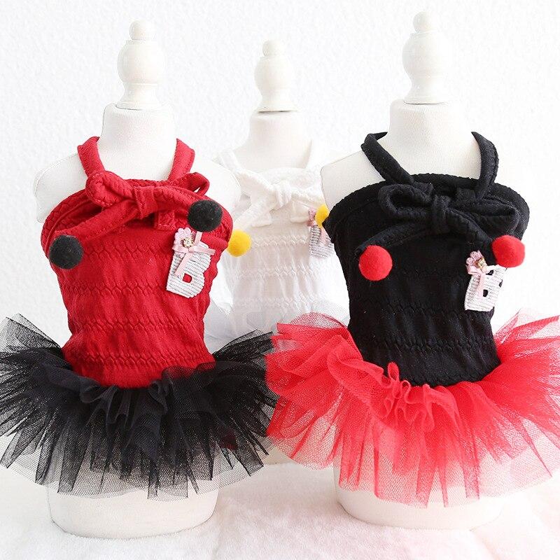 Preto arco dot amor cão vestido para animais de estimação produtos verão 100% algodão roupas para cães gatos chihuahua teddy pet filhote de cachorro roupas para cães 2020