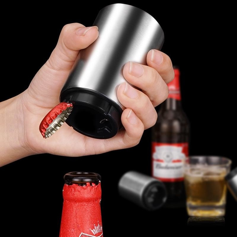 De acero inoxidable botella de cerveza abridor automático de empuje imán abridor...
