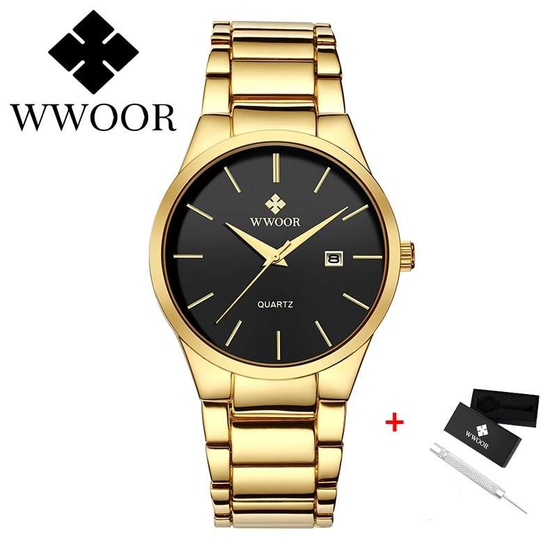 WWOOR New Fashion Mens Watches With Stainless Steel Top Brand Noble Luxury Gold Men's Quartz Watches Men Gifts Relogio Masculino