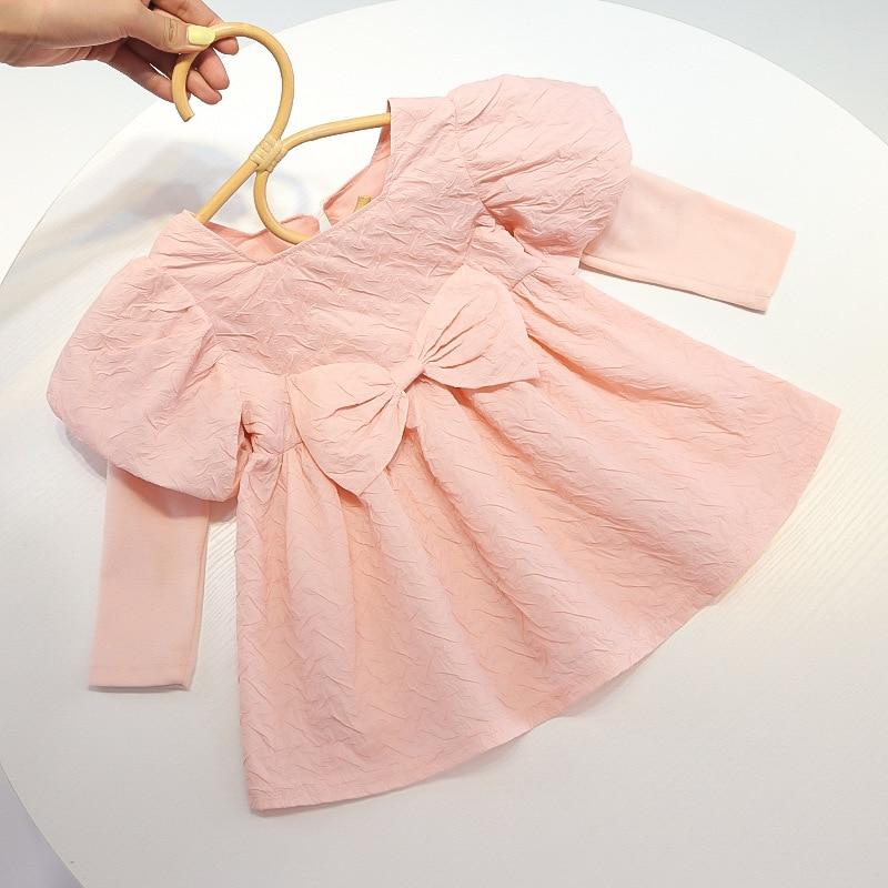 Melario Bow Children Girls Fall Cotton Dress with Long Puff Sleeve Princess Dresses Cute Baby Girl Kids Costume