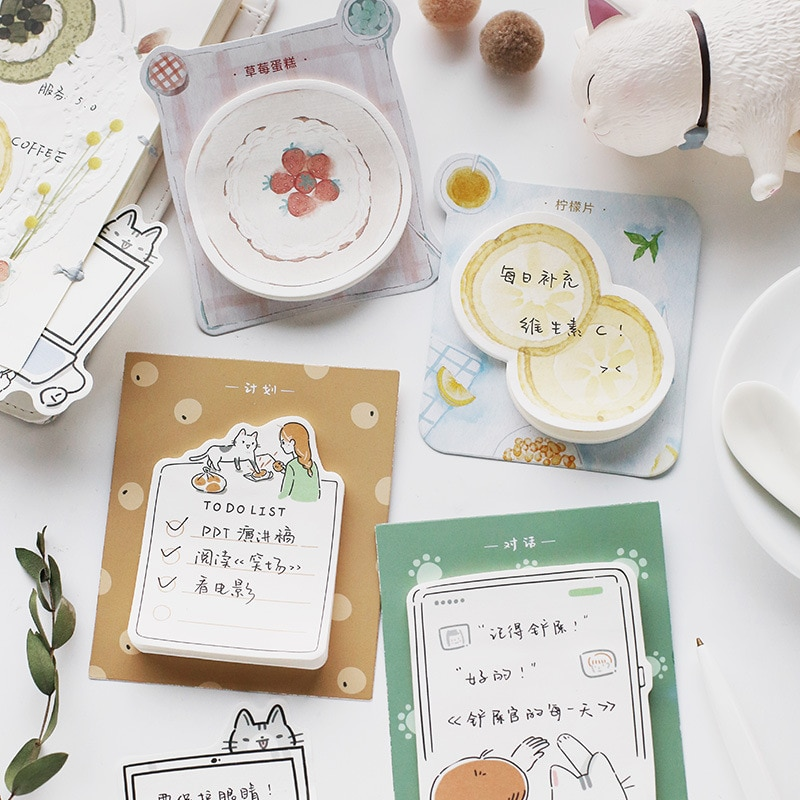 30sheets/pad My Cute Cat Roommate Memo Pad Planner Sticky Notes Paper Sticker Notepad Kawaii Stationery Office School Supplies cute lucky cat animal mini planner sticker notepad sticky notes school supplies material sticky memo agenda notes for student