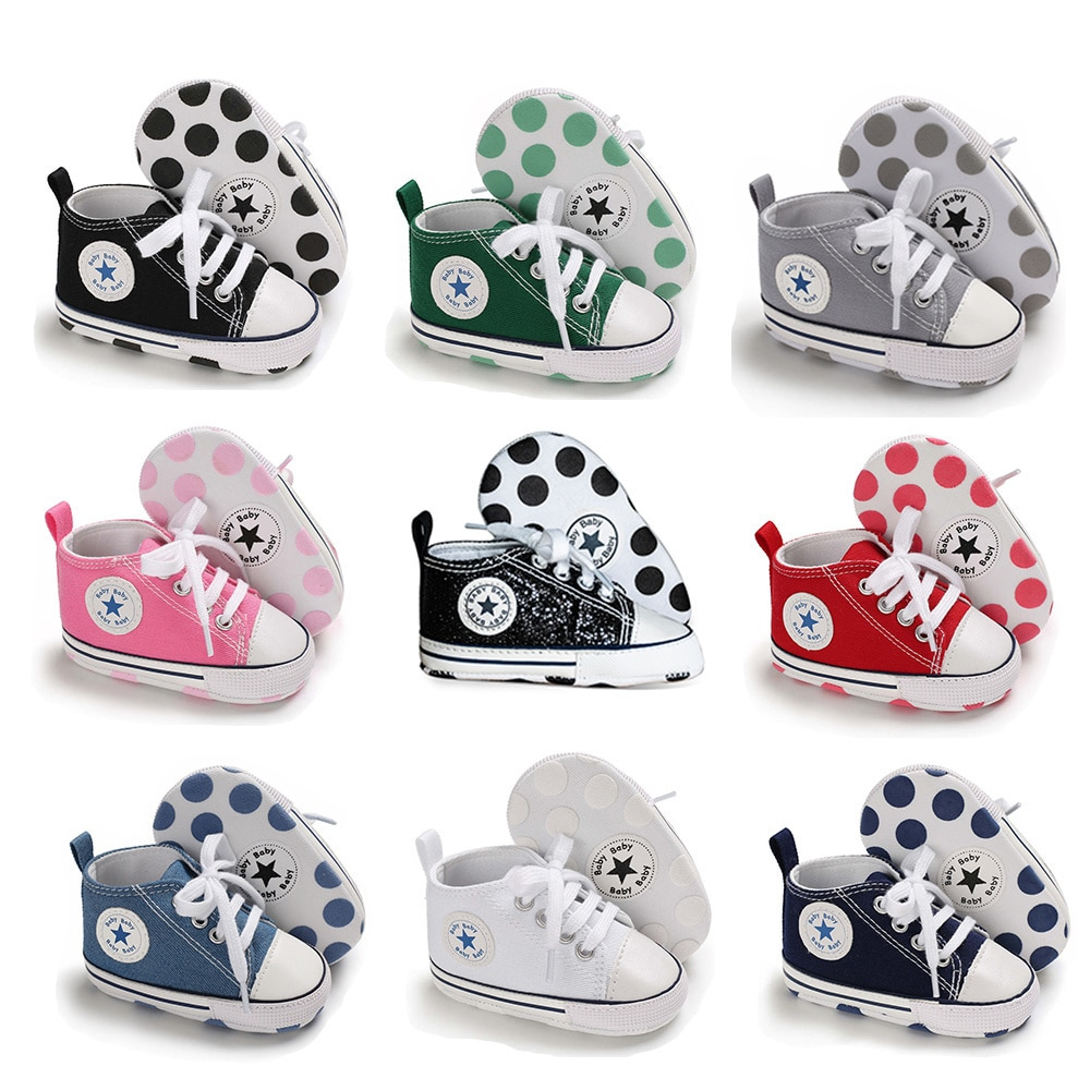 Newborn Boy Girl Shoes First Walkers Infant Baby Shoes White Soft Anti-Slip Sole Unisex Toddler Casu