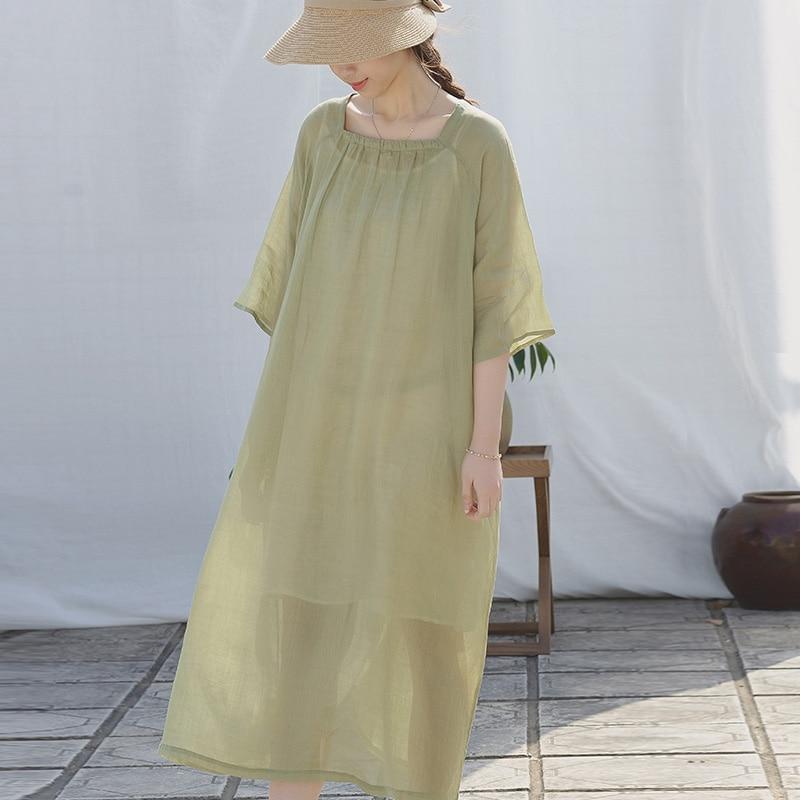 Scuwlin 2020 Vestidos femmes printemps été robe solide col carré demi-manches mince robes Ramie longues robe de plage S990
