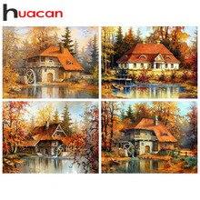 Huacan 다이아몬드 페인팅 5d 가을 농가 홈 장식 모자이크 풍경 자수 크로스 스티치 하우스 다이아몬드 아트