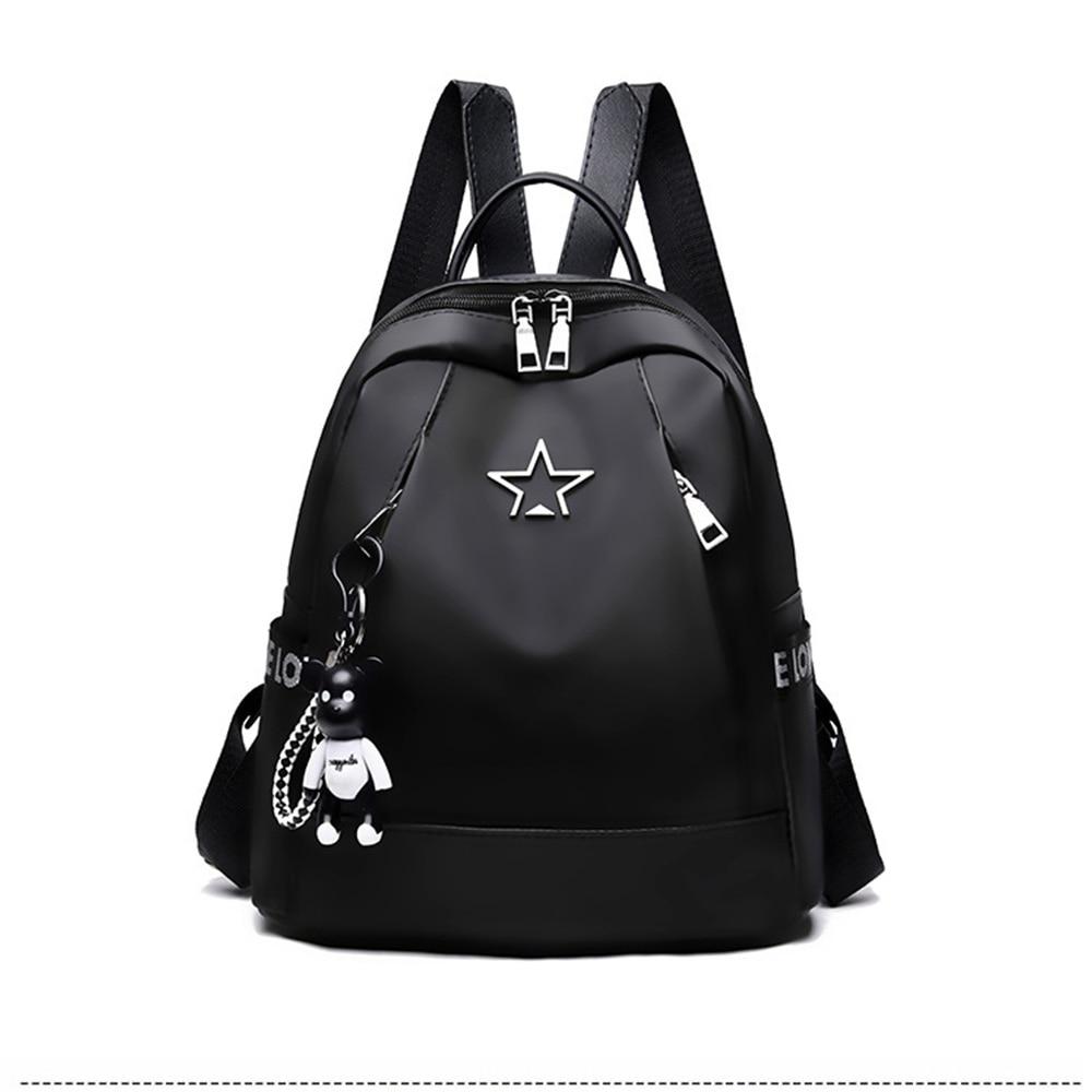 Дамска раница PU кожа чанта през рамо чанта рамо момиче многофункционална малка училищна раница за жени черен цвят