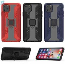 Pour iPhone 11 étui armure PC couverture doigt porte-anneau téléphone étui pour iPhone 11pro couverture antichoc pare-chocs coque de jante en TPU 11pro max
