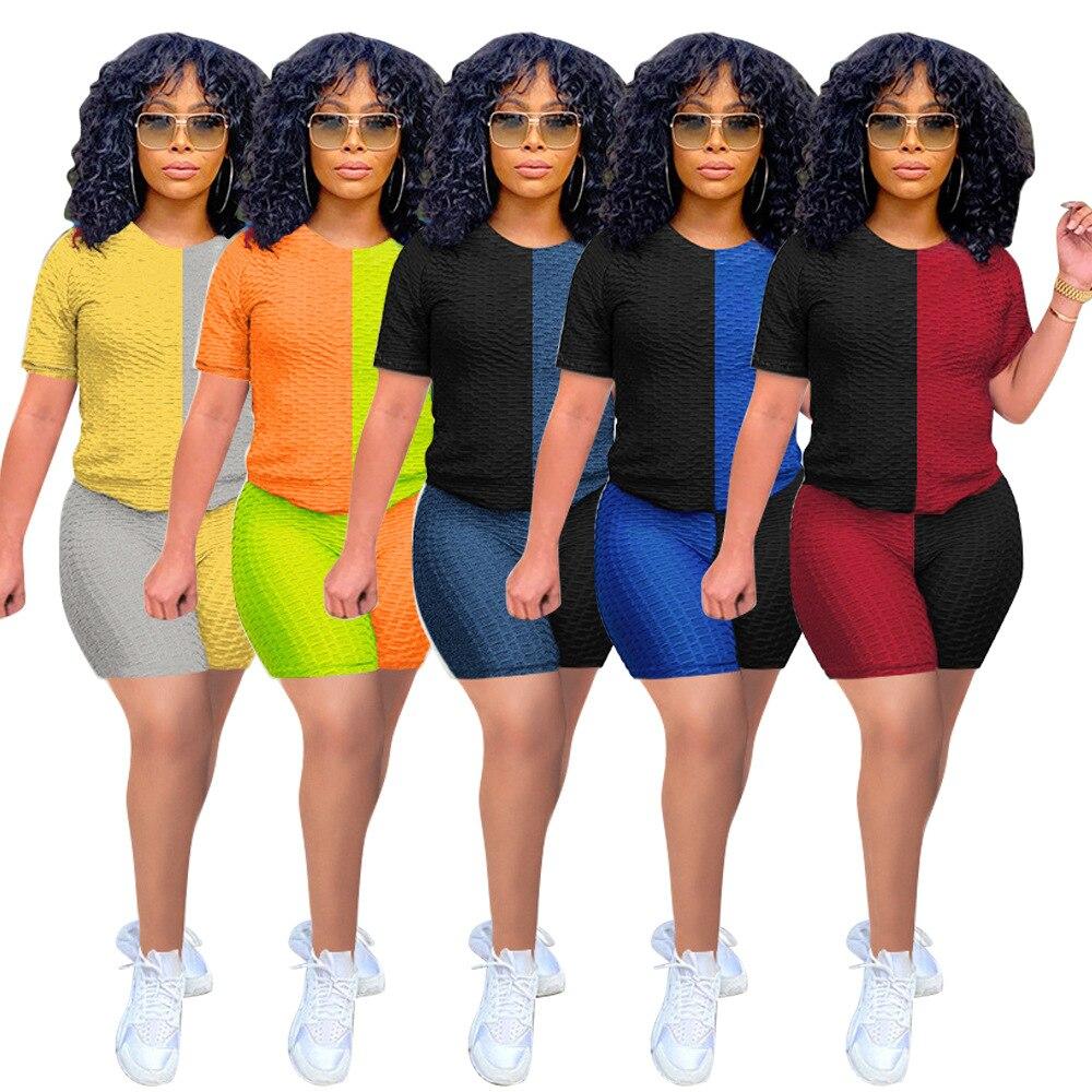 Повседневный женский спортивный костюм, цветная Лоскутная рубашка с круглым вырезом и брюки, уличная одежда, спортивный костюм, летняя одеж...