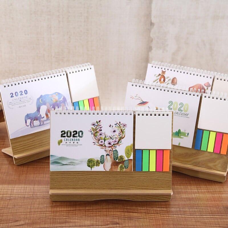 2020 Calendario para escritorio de madera planificador multifunción Agenda tabla calendario Post-it notas para hacer lista Calendario de escritorio Oficina