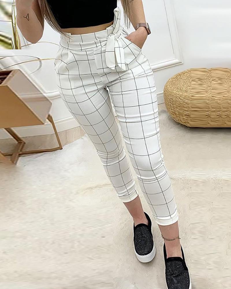 2020 Spring Women Elegant Cropped Pocket Pants Female Fashion White High Waist Grid Paperbag Waist Casual Pants
