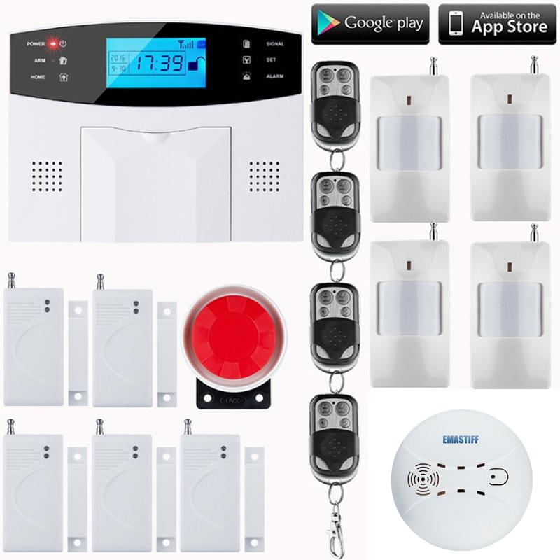 LCD Keyboard RU/SP/EG Voice Wireless SMS Home GSM Alarm system House intelligent auto Burglar Door Security Alarm Systems
