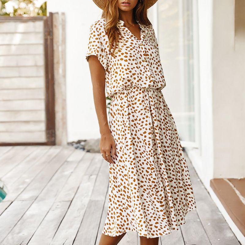 Vestido Midi veraniego para señora, estilo bohemio, con dibujo de lunares, cintura alta y cuello de pico, manga corta, corte en A, para fiesta y vacaciones