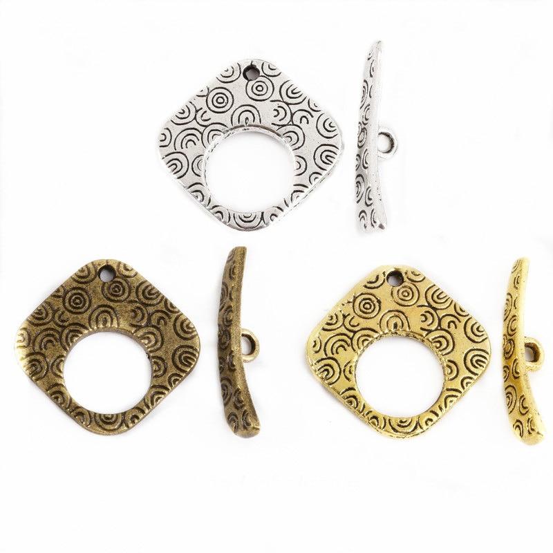 louleur 20sets lot antique bronze toggle clasps hook fit bracelets necklaces findings alloy connectors for diy jewelry making 10sets Square Shape Toggle Clasps Antique Silver/Golden/Bronze Jewelry Findings For DIY Bracelet/Necklace/Earring Making