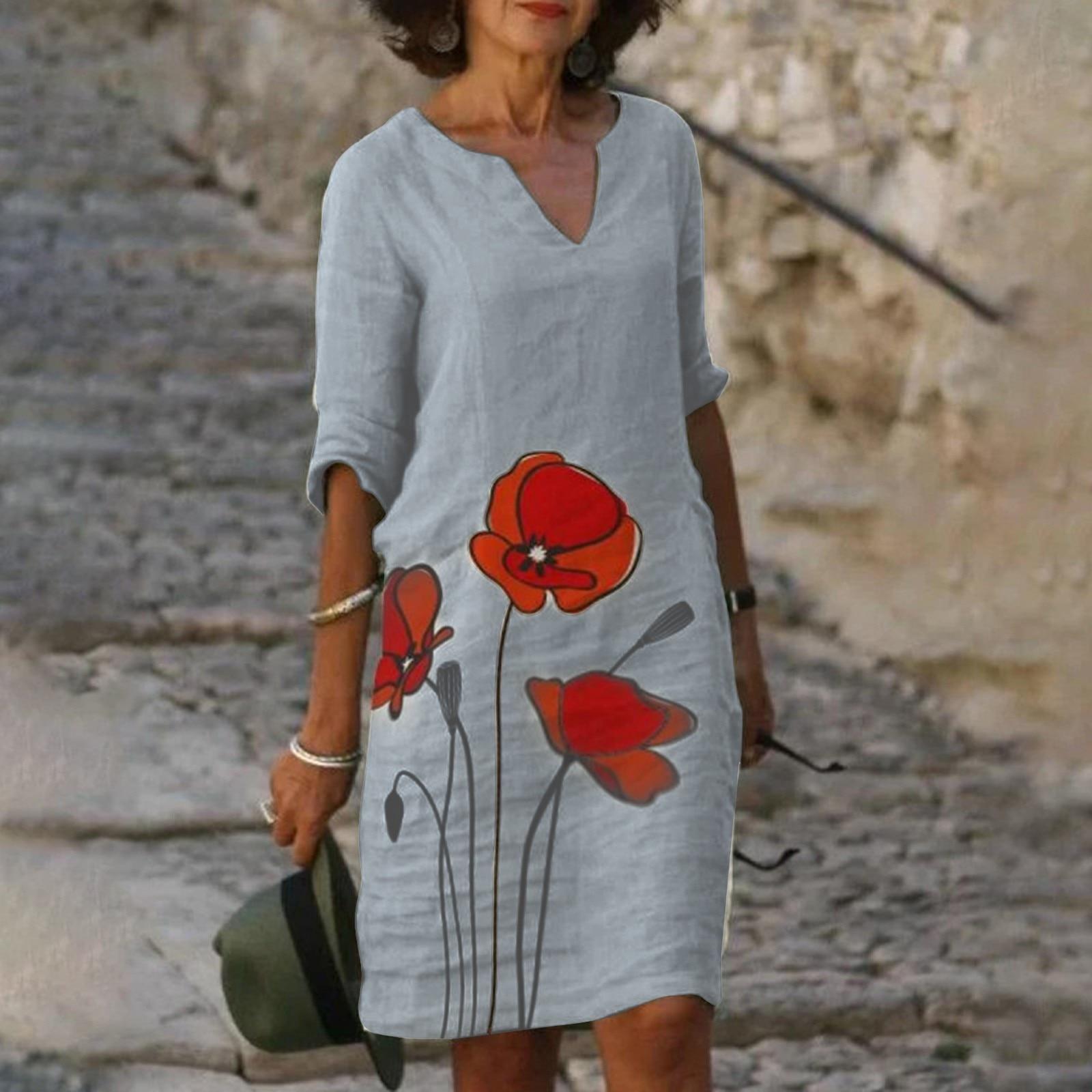 Women's Summer Sexy Dress Temperament Vintage Printed Casual V-neck Ladies Dress Beach Stylish Short Sleeve Dress Vestidos #t3g