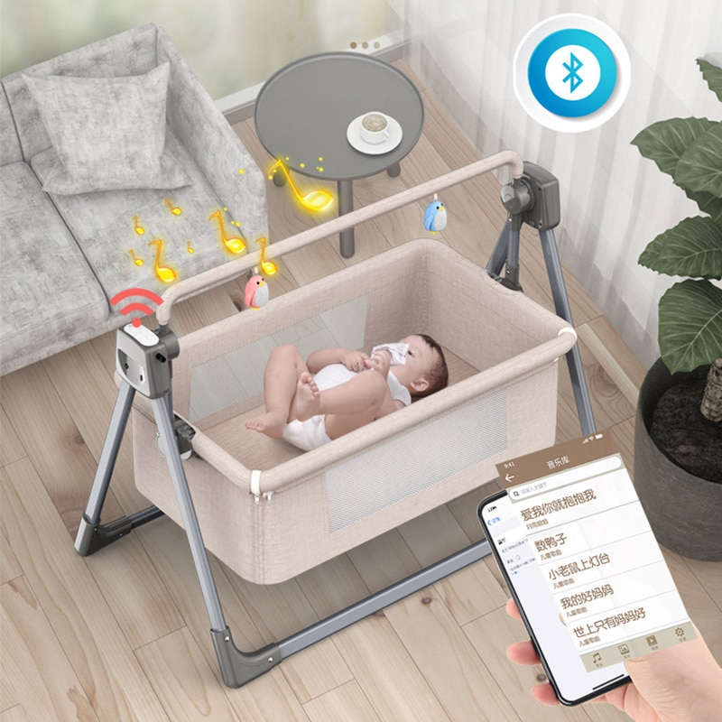Portable Crib Household Electric Cradle Bed Stitching Big Bed Foldable Newborn Baby Bedside Bed Multifunctional Baby Bed Cradle enlarge