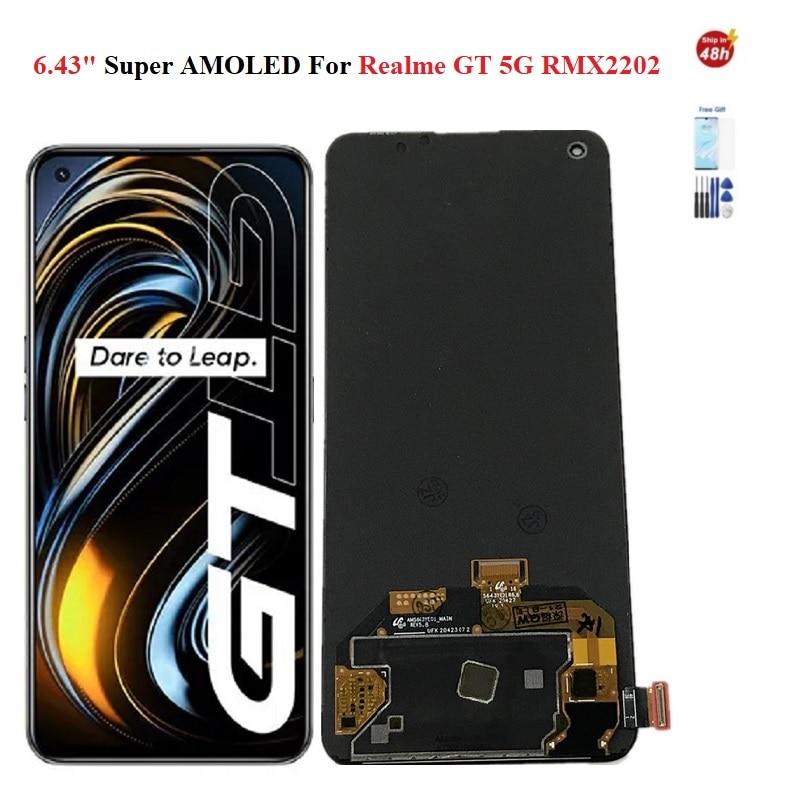 6.43 بوصة سوبر أموليد ل ريليم GT 5G LCD RMX2202 عرض محول الأرقام بشاشة تعمل بلمس ل ريالي GT عرض RMX2202 شاشة LCD