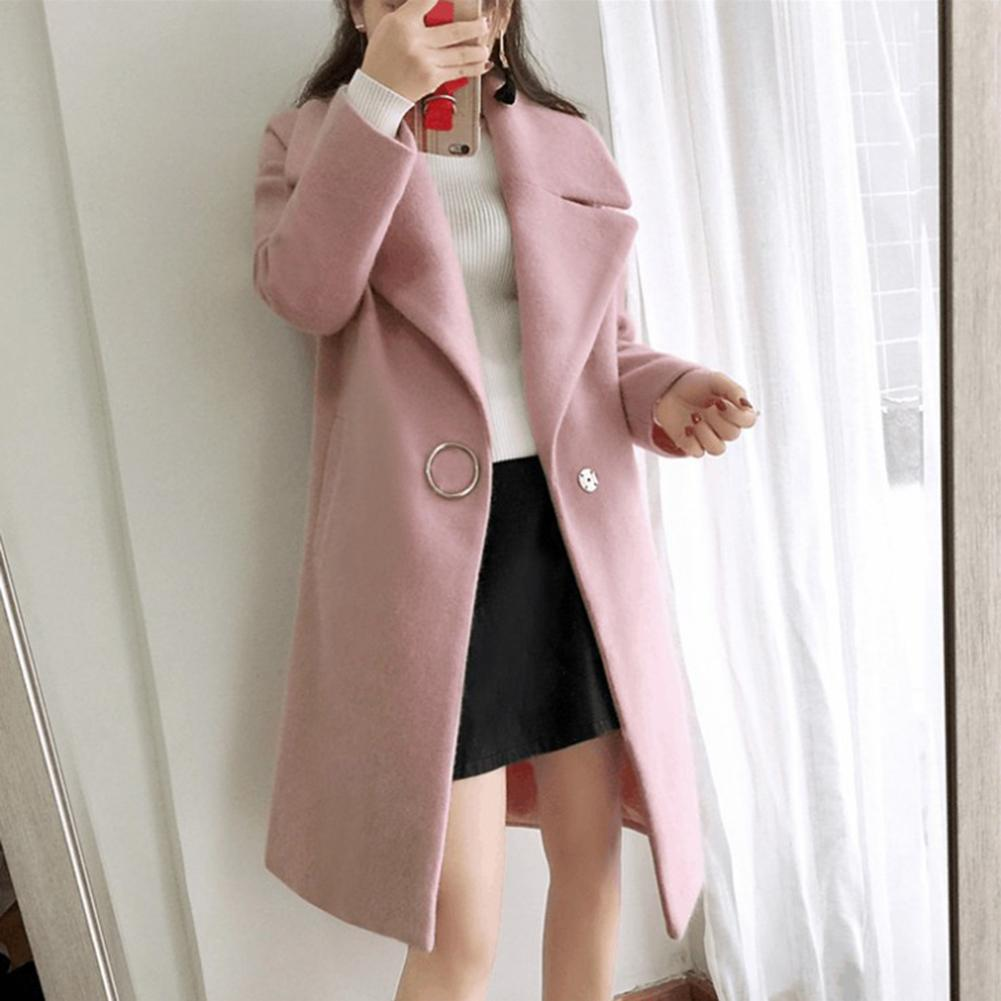 Abrigo prendas de vestir para mujer abrigo largo de lana con mezcla de lana y cuello vuelto para mujer ropa de trabajo de oficina elegante