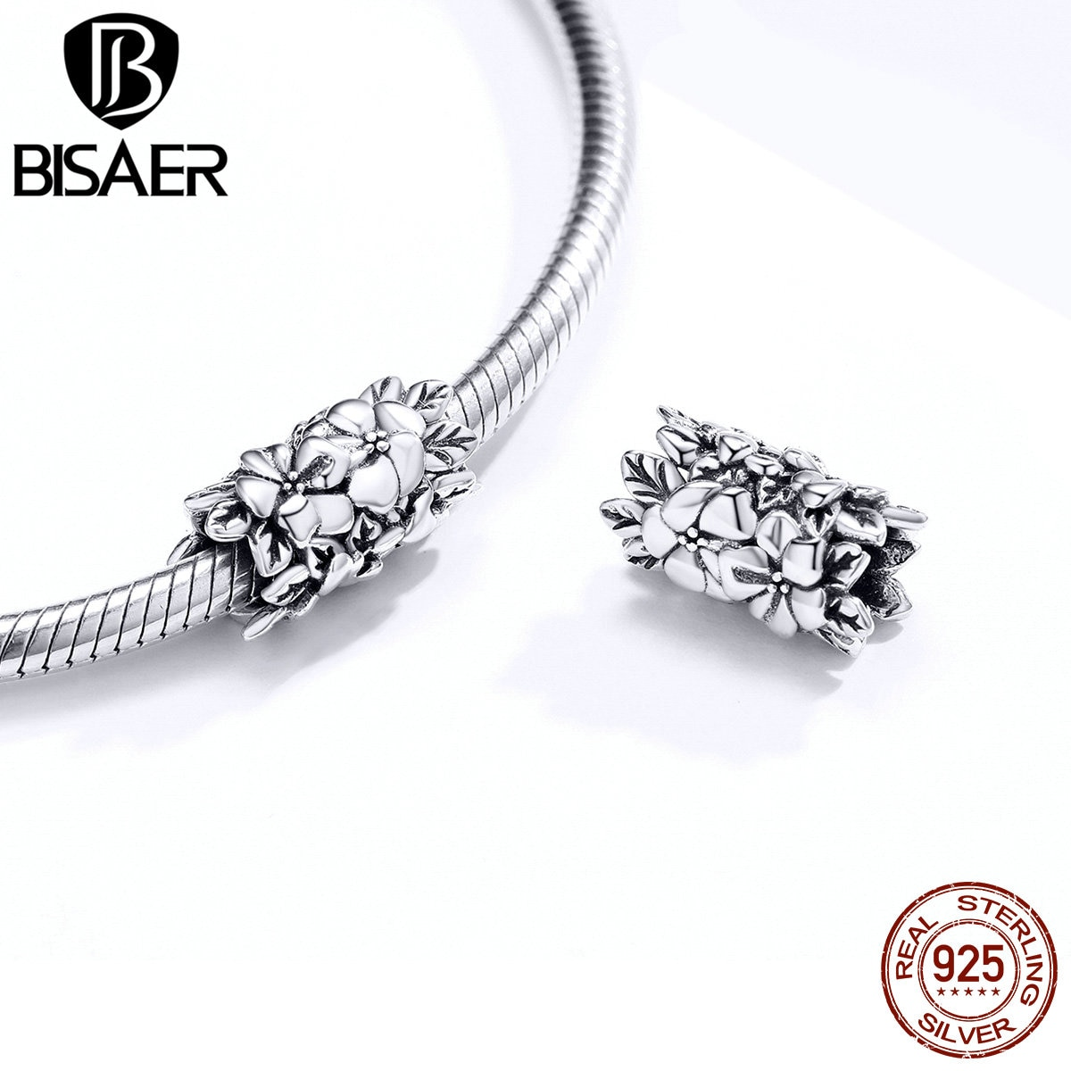 Abalorios de ramo BISAER de Plata de Ley 925, cuentas de pradera de flores silvestres para mujer, pulsera de plata 925, joyería de regalo HSC1488