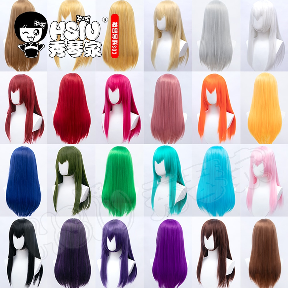 HSIU 26 Colors 60cm Long Straight Hair Pink Gray  White purple Black pink+Free brand hair net Multicolor Cosplay Wigs