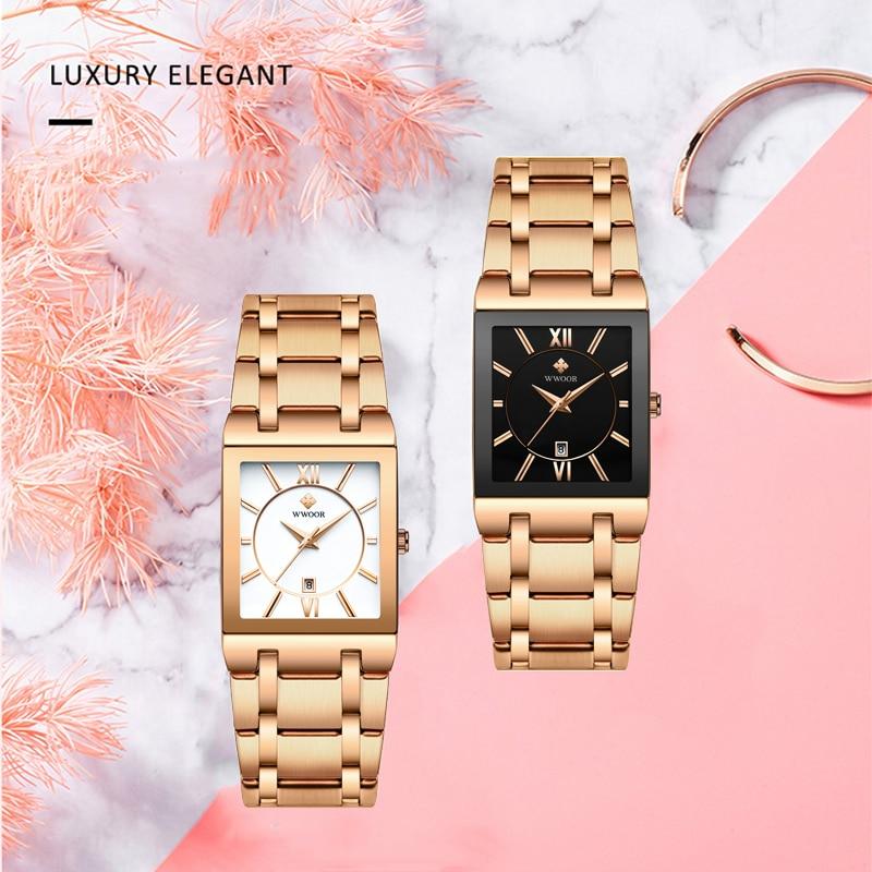 WWOOR Ladies Bracelet Watch Famous Brand Luxury Rose Gold Square Watch Women Exquisite Quartz Wristwatch Female Relogio Feminino enlarge
