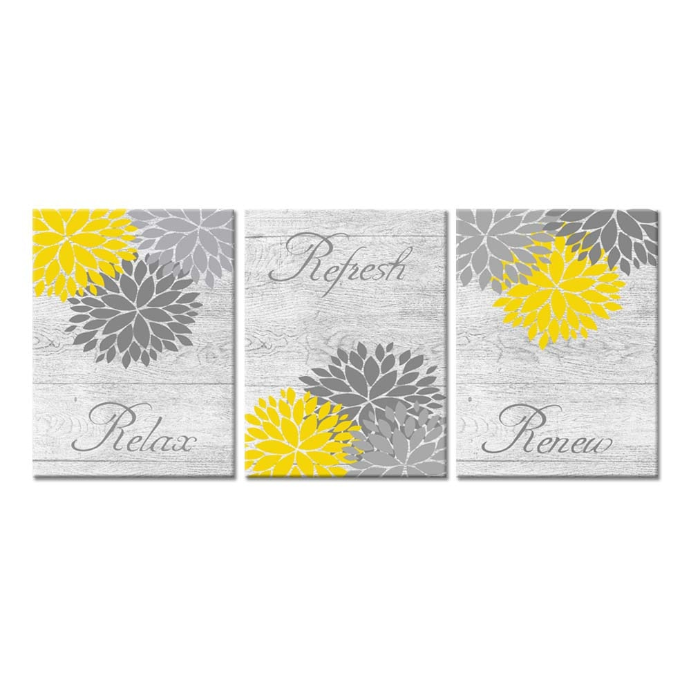 Yellow Gray Bathroom Wall Art Prints Dahlia Flowers Relax Refresh Renew Signs On Rustic Wood Background For Bedroom Bathroom Painting Calligraphy Aliexpress