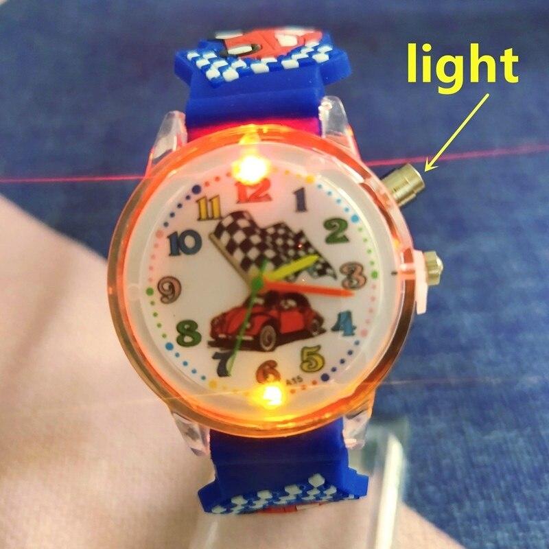 2021 Новый светильник смотреть мультфильм гоночный световой Кварцевые детские часы для мальчиков и девочек Игрушка Дети учатся учета рабоче...