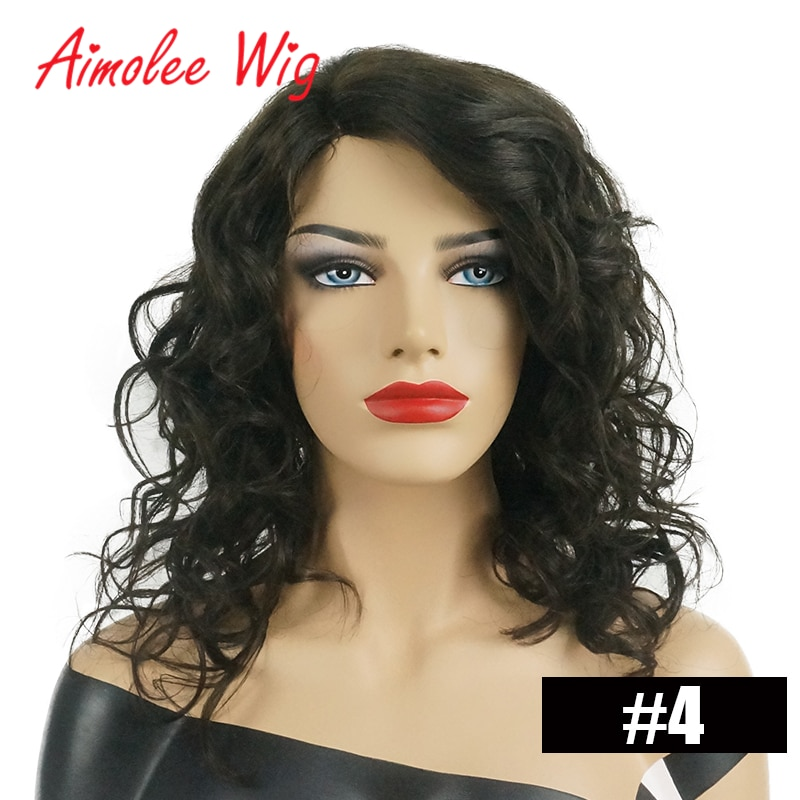 Aimolee Long Wavy Blonde Brown Highlight Wigs Mixed Human Hair Blend Synthetic Wig for Women Daily Work Party Hair