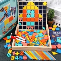 3 in 1baby wooden toy multifunctional jigsaw arithmetic stick montessori wooden math toys children counting game gifts