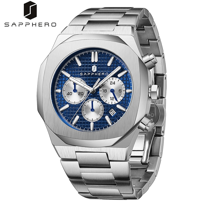 SAPPHERO Mens Watches with Stainless Steel Chronograph Quartz Movement Waterproof 30M Luxury Casual