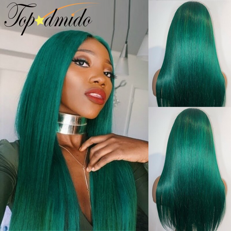 Topodmido 13x4 Lace Front Wig with Baby Hair Green Color Brazilian Straight Remy Hair Wig Purple Color Human Hair Wigs for Women