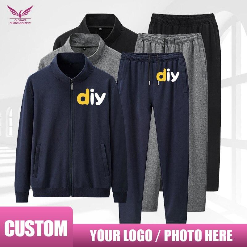 العرف sweatshirs تخصيص شعار الرجال/امرأة رياضية الخريف الرجال معطف السراويل مجموعات زي مدرسي التخصيص جودة عالية