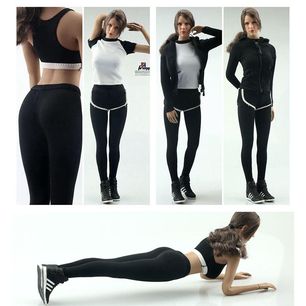 FA007 1/6, женский аксессуар для фигуры, одежда для йоги, одежда для фитнеса, толстовка, свитшот, спортивные штаны, комплект одежды для тела 12 дюй...